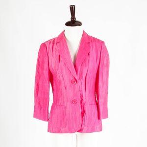 BASLER – Gorgeous Hot Pink Crinkled Linen Blazer
